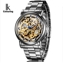 Original IK Colouring Male Clock Stainles Steel Band Skeleton Dial Automatic Mechanical Wrist Watch Men Heren Horloges
