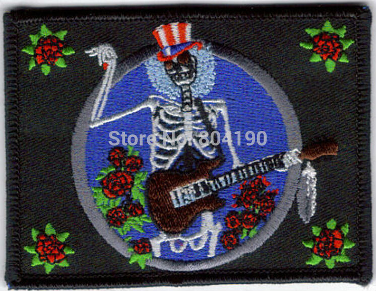 3 5 GRATEFUL DEAD SKELETON AND ROSES Logo Music Band Embroidered IRON ON Patch Rock Punk