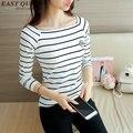 Summer spring fashion women 2016 sleeve knitted t-shirt thin slim stripe shirt O-Neck Shirt Striped Long Sleeve Shirt AA1268X