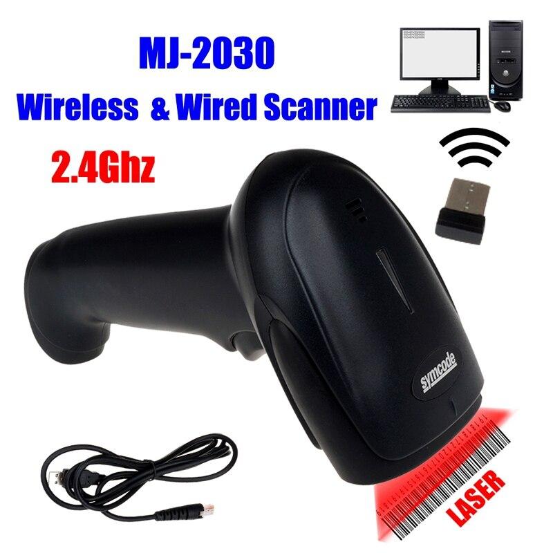 MJ-2030 Präfix F7 Unterstützt Laser Barcode Scanner 1D Drahtlose Tragbare Scanner mm 2,4G Wireless Barcode Scanner USB Reader