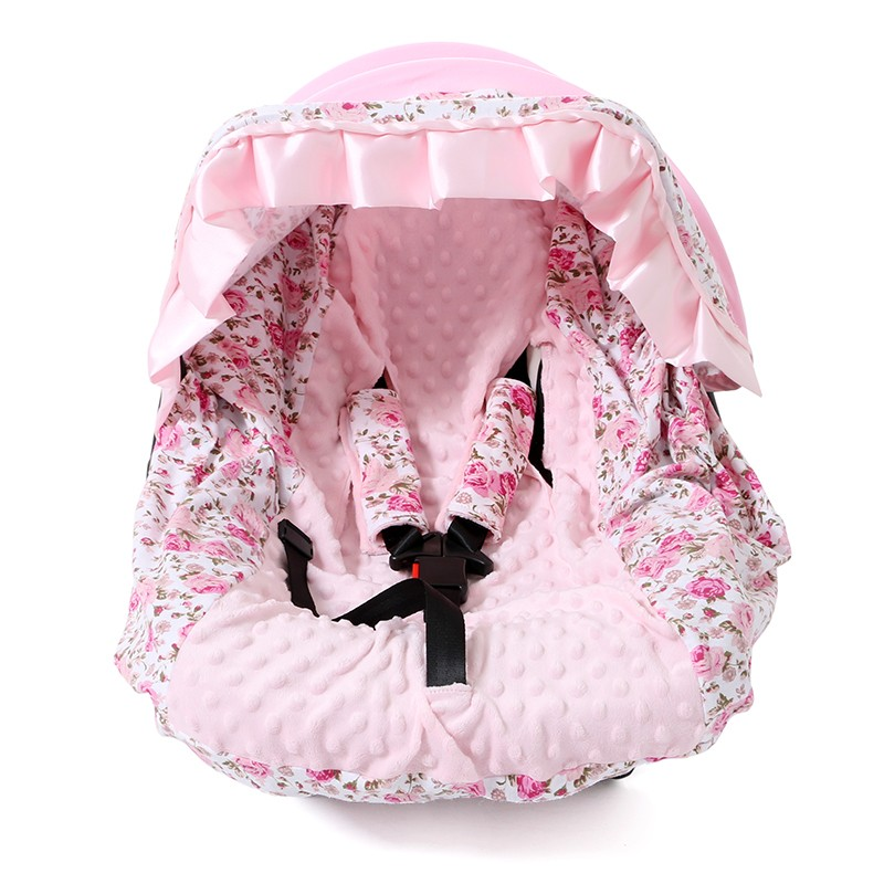 Infant Baby Car Seat Cover Pink Floral Fashion Cotton Car Seat