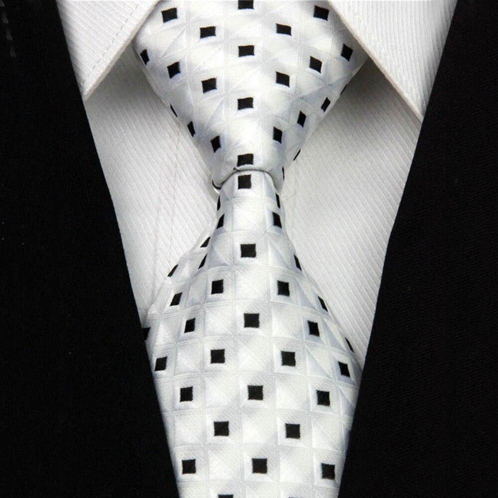 "Silk Tie 7.5cm 3"" Narrow Jacquard Woven Geometric Wedding Necktie Mens Business Accessories Black White Blue Suit Tie for Man"
