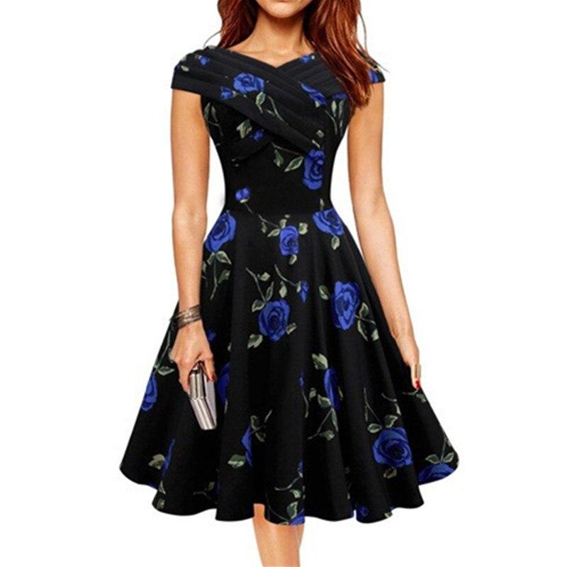 Print Vintage Fashion dresses Sleeveless 2016 new style summer retro women dress Vestidos robe womens clothing