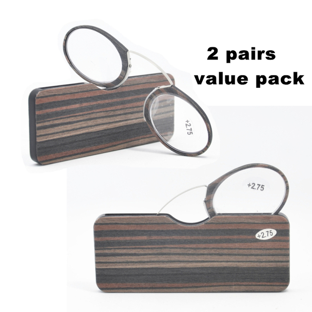 2d3a8f5ecc14 2PCS Value Pack Wooden Stripe Go Everywhere SOS Pince Nez Style Nose  Resting Pinching Reading Glasses yr8209-1