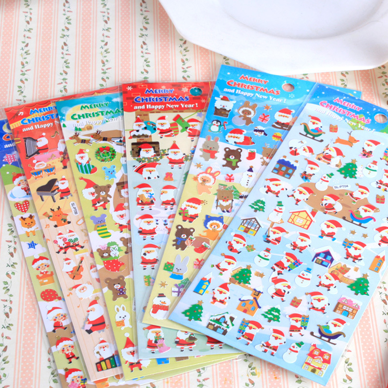 2Pcs Christmas Decorations Cute Santa Claus Christmas Tree Snowman Cartoon Notebook Phone Stickers Toys for Kids Random