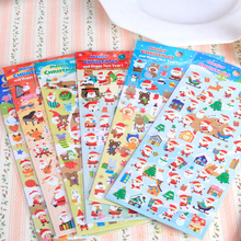 2Pcs Christmas Decorations Cute Santa Claus Christmas Tree Snowman Cartoon Notebook Phone Stickers Toys for Kids