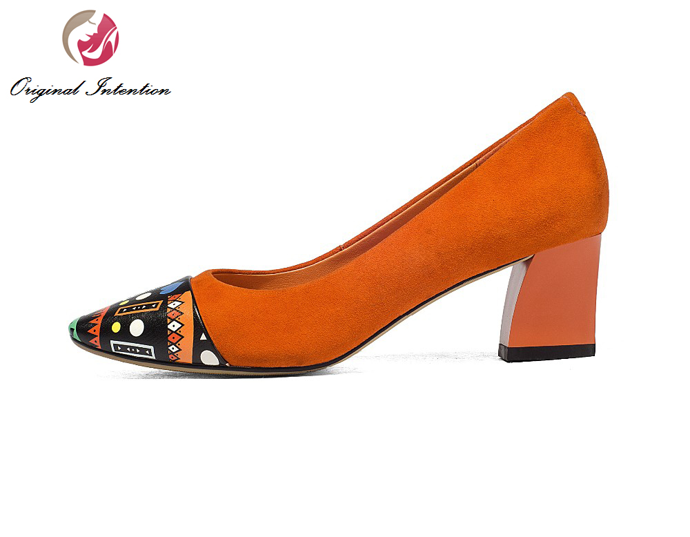ФОТО Original Intention Elegant Women Pumps Fashion Square Toe Square Heels Pumps Beautiful Black Orange Shoes Woman US Size 3.5-10.5