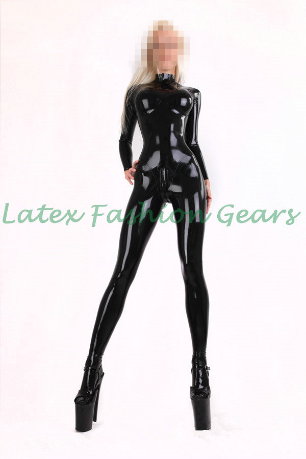 Black latex catsuit with socks chest three-dimensional design for women plus size custom made