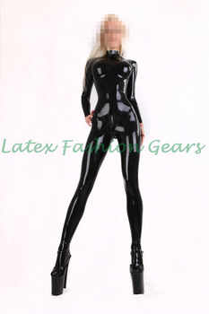 Black latex catsuit with socks chest three-dimensional design for women plus size custom made - DISCOUNT ITEM  10% OFF All Category