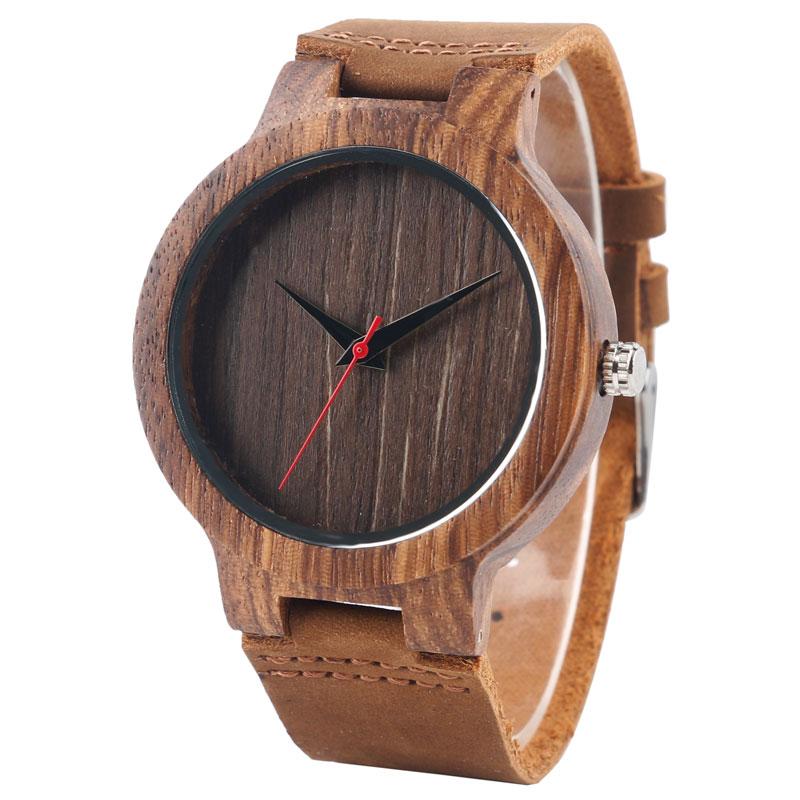 Creative Hand-made Wooden Wristwatch Brown Genuine Leather Watch Strap Modern Analog Quartz Watch Best Gift for Men Women Female