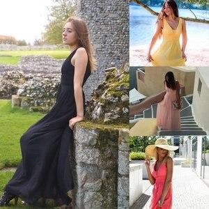 Image 5 - 정장 이브닝 드레스 적 EP08110 우아한 블랙 딥 브이 넥 Ruched 바스트 맥시 여성 2020 우아한 이브닝 드레스 가운