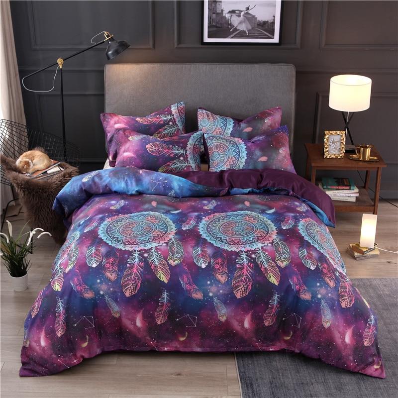 Purple Dreamcatcher Printing Bedding Set Duvet Cover Pillowcase Set Comforter Bedclothes conjuntos de ropa de cama