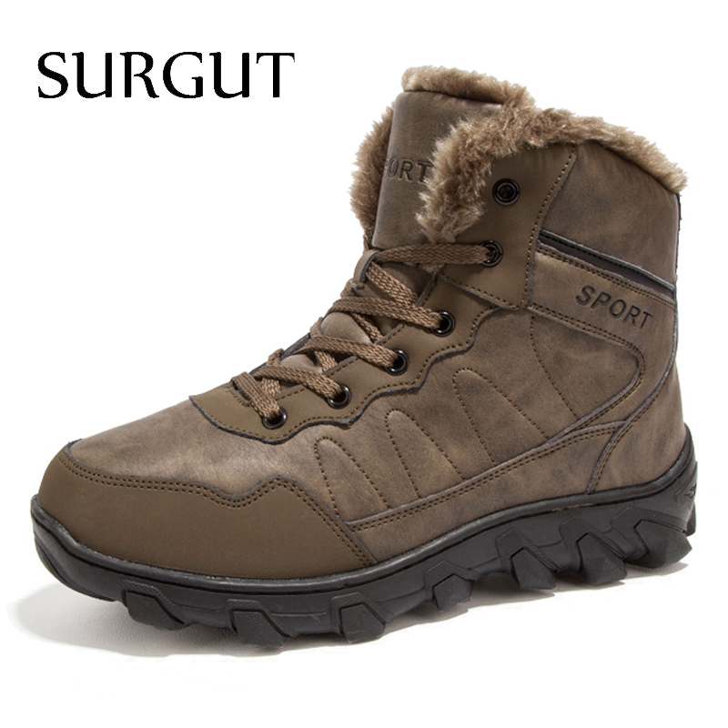 SURGUT Brand Men Boots 2018 New Fashion Suede Leather Boots Men Casual Boots For Spring Winter Keep Warm Lace Up Snow Boots Men zenvbnv winter leather men boots work casual boots men keep warm shoes male rubber snow cow suede leather ankle boots for men