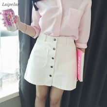 New 2018 Summer Girls A-Line Korean Mini Jeans Skirt Single Button Slim Waist Denim pencil Skirts Summer Cheap Sexy Skirt Women fashion cute infant baby girl button a line mini skirts button party slim princess pageant skirt
