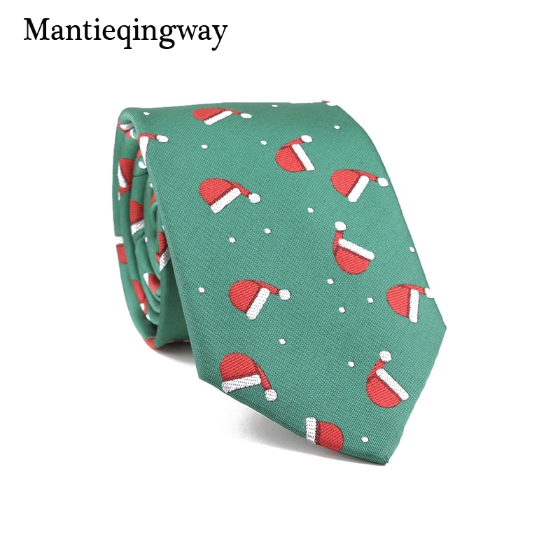 Mantieqingway Male Suits Christmas Neck Ties For Mens Snowflake Pattern Polyester Necktie Business Wedding Neck Ties Gifts