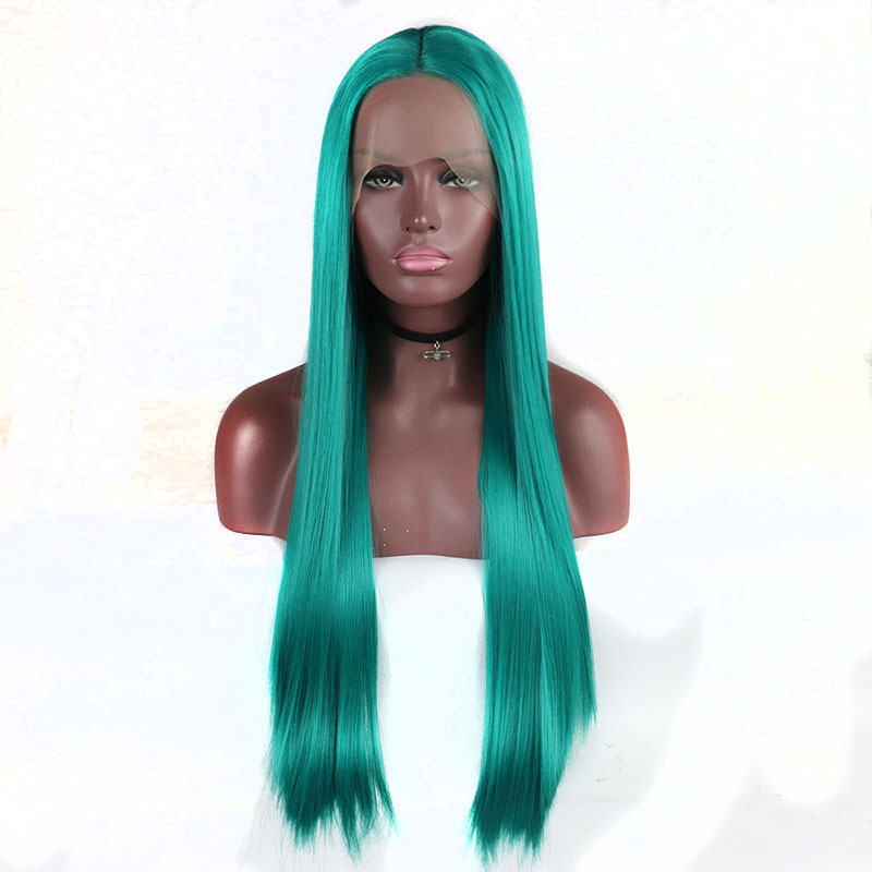 Bombsell High Temperature Heat Resistant Fiber Straight Synthetic bright Blue lace front wig Natural Hairline for