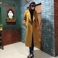 Camel peacoat 2017 primavera outono verde do exército marrom preto trench coats imitação cashmere x-mulheres longos casacos paded