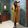 Peacoat 2017 Spring Autumn Camel Brown Army Green Black Trench Coats Imitation Cashmere X-long Women Coats Paded
