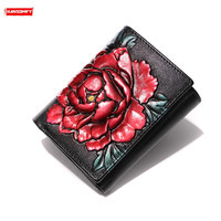 Fashion new mini thin Women wallets female short section genuine leather clip painted flowers bag card package coins purses