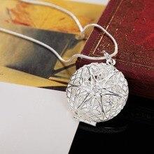 P167 Wholesale Free shipping elegant fashion silver plated jewelry charm women noble round  pendant necklace Kinsle