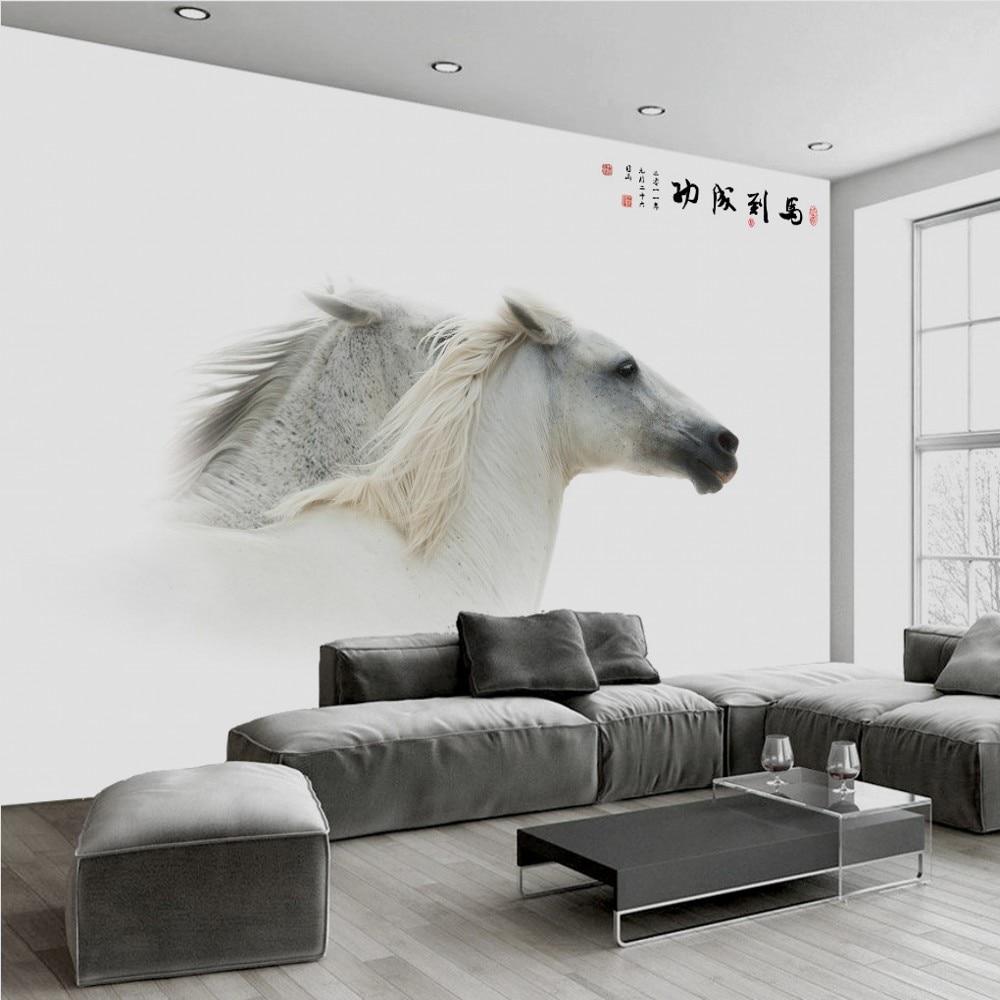 Free Shipping Custom 3d White Beautiful Horse Modern Minimalist