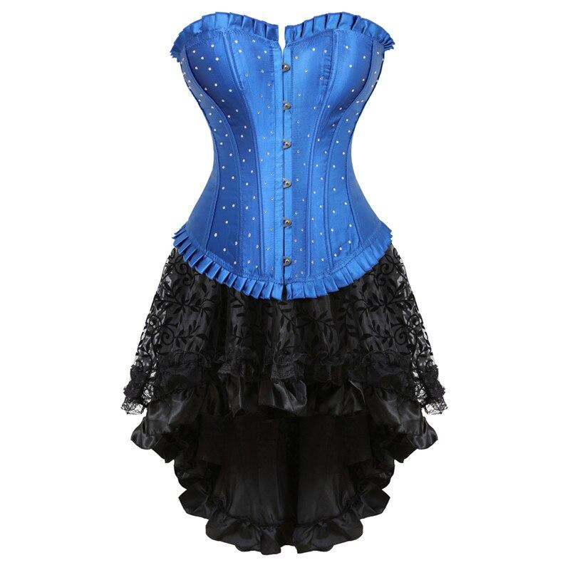 100% Kwaliteit Vintage Rhinestone Corset Jurk Bovenborst Taille Cincher Korsetten Bustier Lingerie Top Met Rok Vrouwen Plus Size Halloween Kostuum