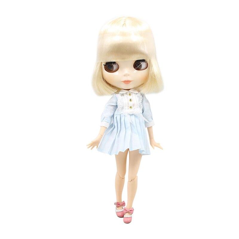 Oyuncaklar ve Hobi Ürünleri'ten Bebekler'de BUZLU fabrika blyth doll 1/6 bjd sarışın beyaz kısa saç ortak vücut beyaz cilt oyuncak 130BL0519'da  Grup 1