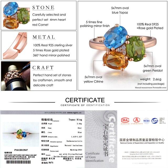 LAMOON 3pcs 3ct Oval Yellow Citrine Green Peridot Blue Topaz 925 sterling-silver-jewelry  Wedding Ring S925 LMRI002