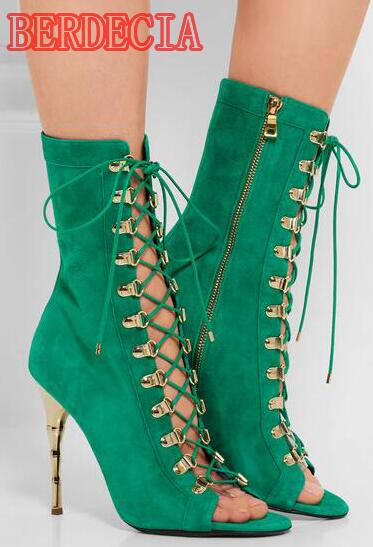Fashion Green Suede Leather Women Lace Up Boots Sexy Open Toe Unique Metal High Heel Boots Ladies Ankle Boots Female Party Shoes