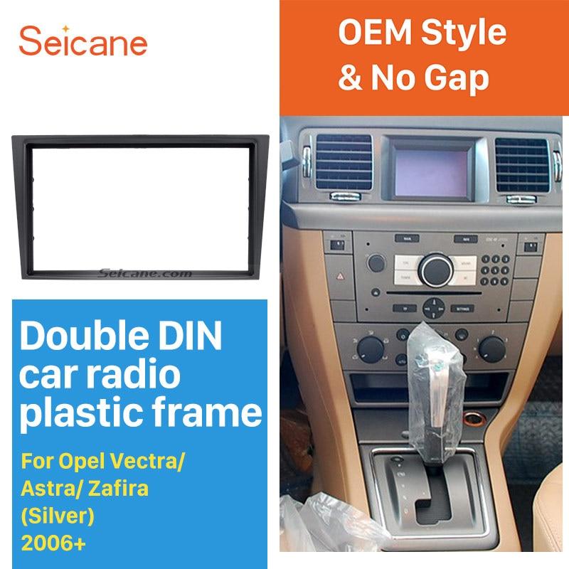 Seicane серебристый 2Din автомобильный Радио фасции крышка установка отделка комплект для 2006 + Opel Vectra Astra Zafira CD приборной панели рамка панель
