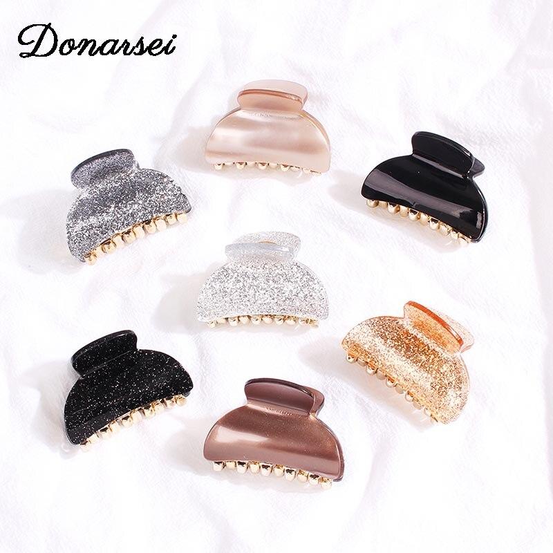 Donarsei Fashion Acrylic Hair Clip Claw For Women Geometric Acetate Hairpins Crab Claws Jaw Clamp Horsetail Barrette Hair Tie
