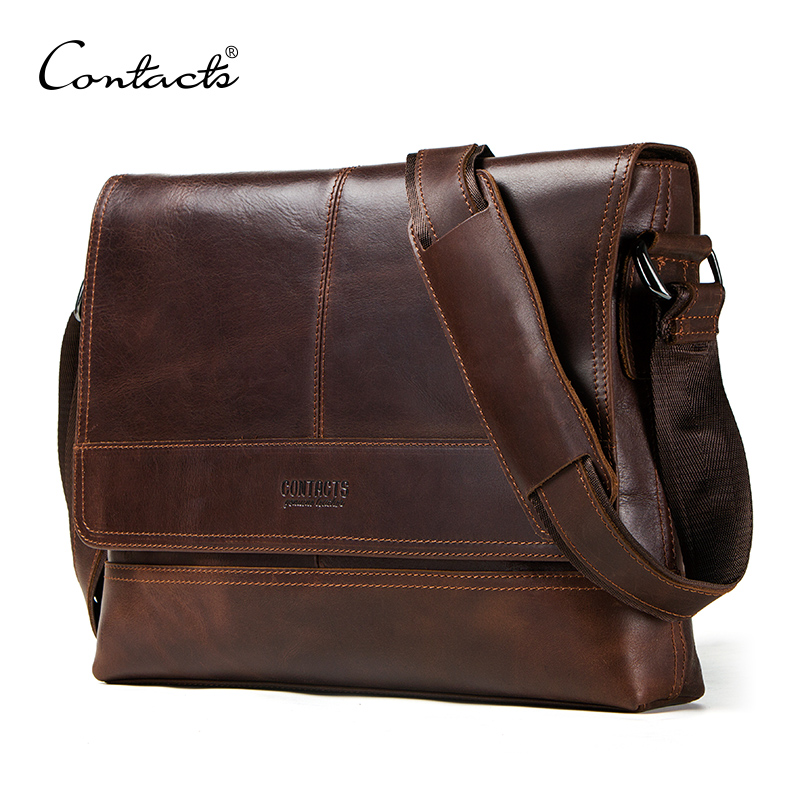 CONTACT'S 2018 New Arrival Men's Messenger Bags For Man Cross Body Bag Men's Bag High Quality Shoulder Bags Male Business Casual leisure mens brand totes bags 2017 new selling fashion man leather messenger bag male cross body shoulder business bags for