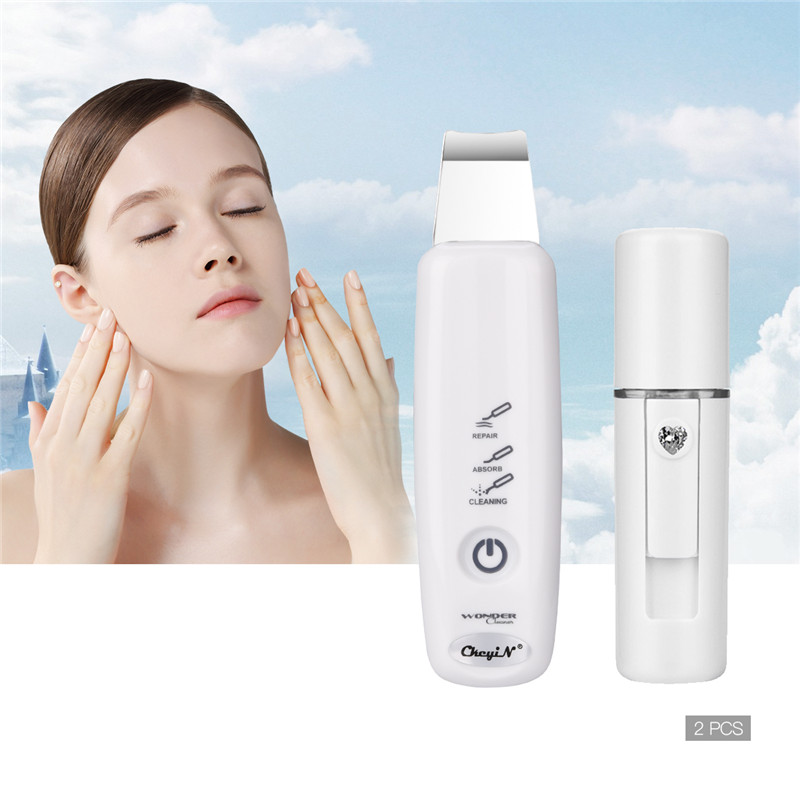 Ultrasonic Skin Scrubber Peeling Extractor Facial Deep Cleaning Beauty Device + Skin Care Rejuvenation Nano Face Steamer 40Ultrasonic Skin Scrubber Peeling Extractor Facial Deep Cleaning Beauty Device + Skin Care Rejuvenation Nano Face Steamer 40