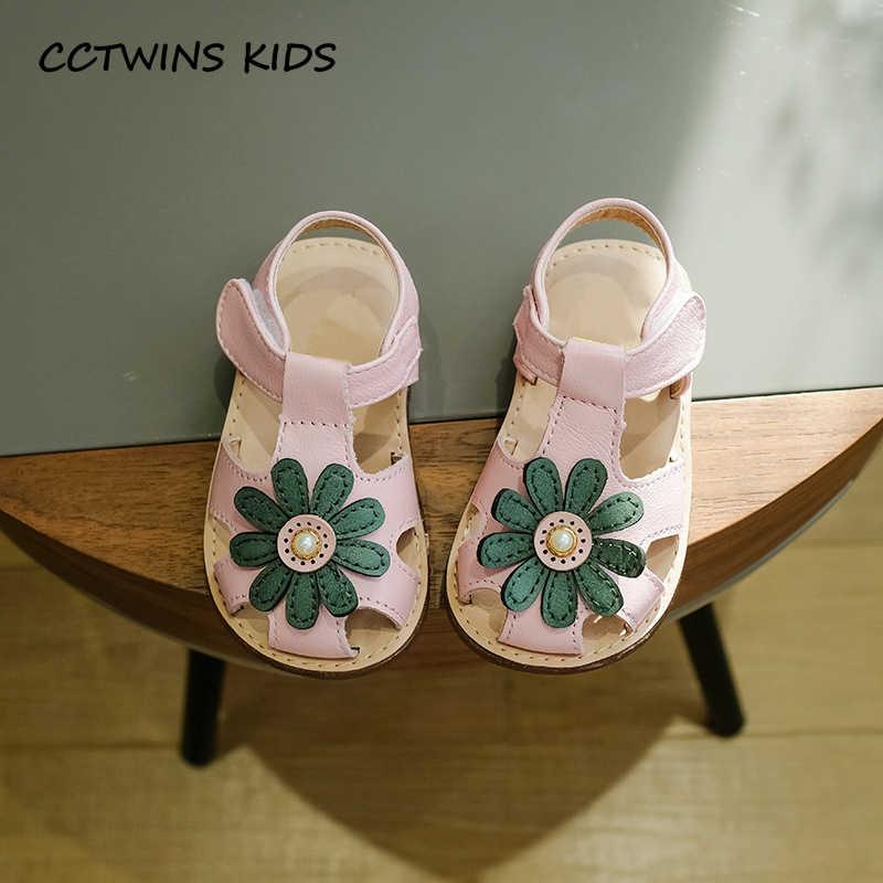 CCTWINS ÇOCUKLAR 2018 Bahar Çocuk Moda Hakiki Deri Toddler Kız Çiçek Ayakkabı Bebek Kız Marka Pembe Ilk Yürüteç Düz FW082