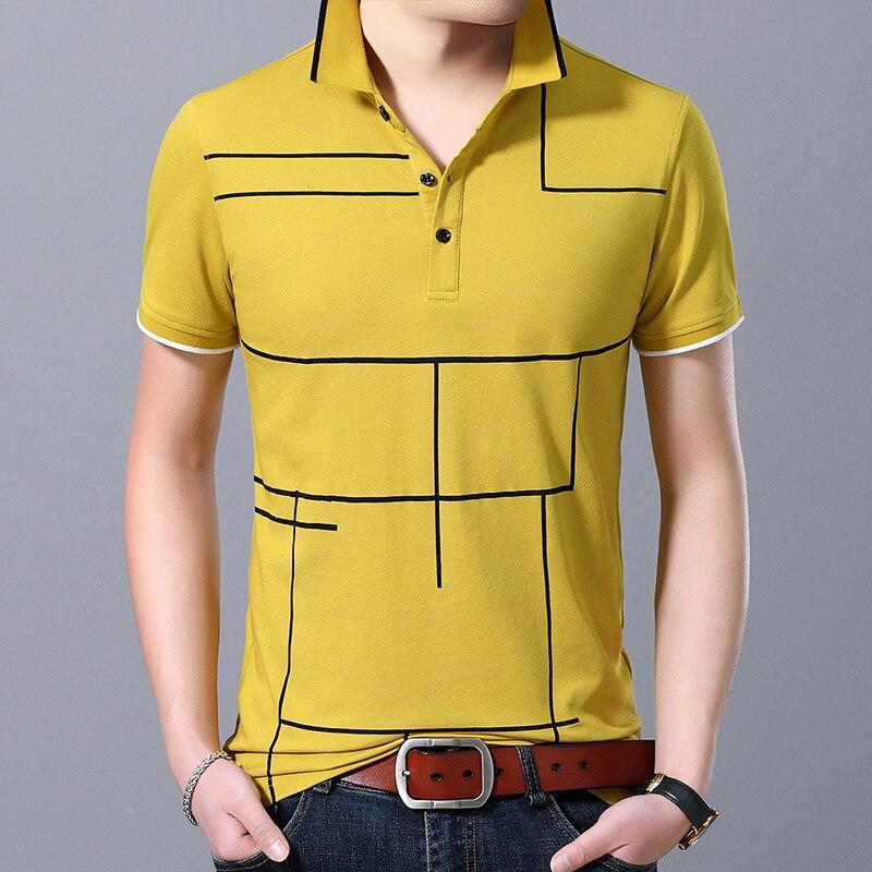2019 New Fashion Brand Polo Shirt Men's Plaid Top Grade Summer Short Sleeve Slim Fit Cotton Boys Poloshirt Casual Men's Clothing