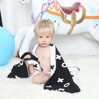 SummitKids 75x100CM New Baby Blanket Newborn Fleece Black White Rabbit Cross Flannel Kids Bedding Sofa Mantas