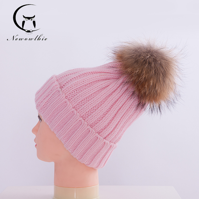 Women Hat Autumn Winter 100% Real Raccoon Fur Hats Knitted Wool With Gunuine Fur Pompom Beanies Hat Cap For Girl Children
