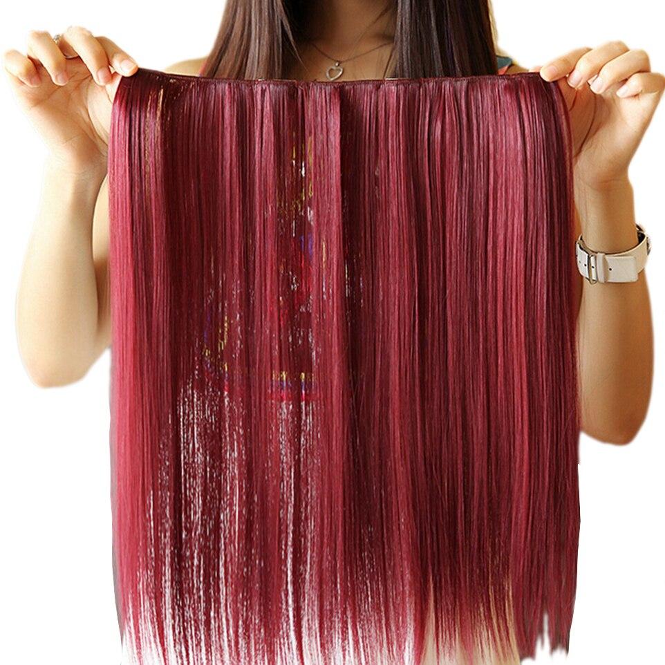 """Soowee 42 ס""""מ אדום שיער לבן קליפ ישר בתוספות שיער סינטטי קוספליי מפלגת הפאה שיער לנשים"""