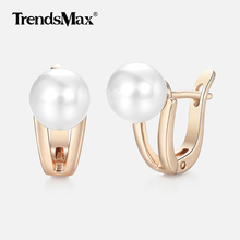 Simulated Pearl Stud Earrings For Women Girl 585 Rose Gold Earrings Woman Jewelry Classic Accessories Gifts Dropshipping GE249