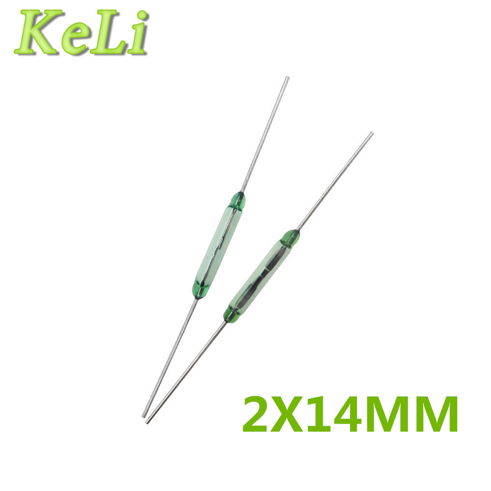 Color N O Low Voltage Current 100 New Original 1000PCS LOT REED SWITCH 2X14MM GLASS GREEN