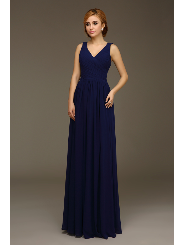 2017 Real Navy Blue Long Bridesmaids Dresses V Neck Tank Straps Wedding Party Dress Floor Length A Line Chiffon Bridesmaid Robes In From
