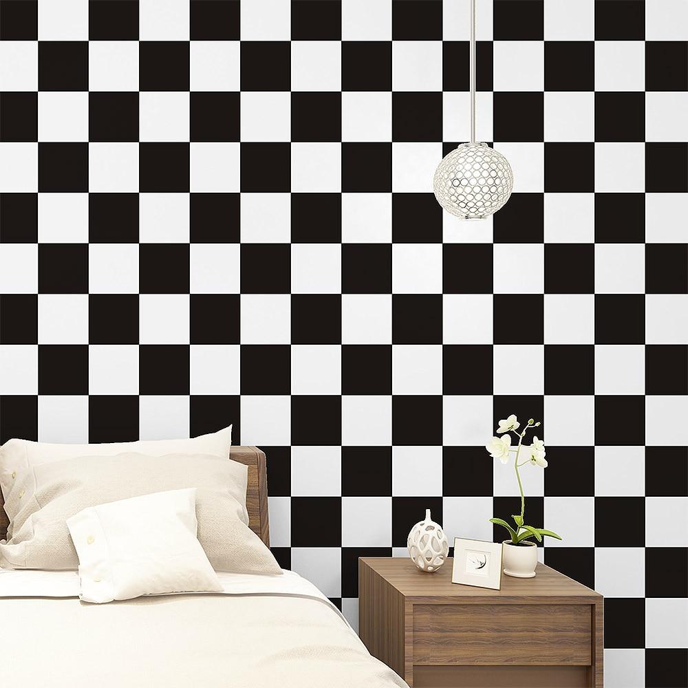 New Waterproof Pvc Black White Plaid Self Adhesive Wallpaper