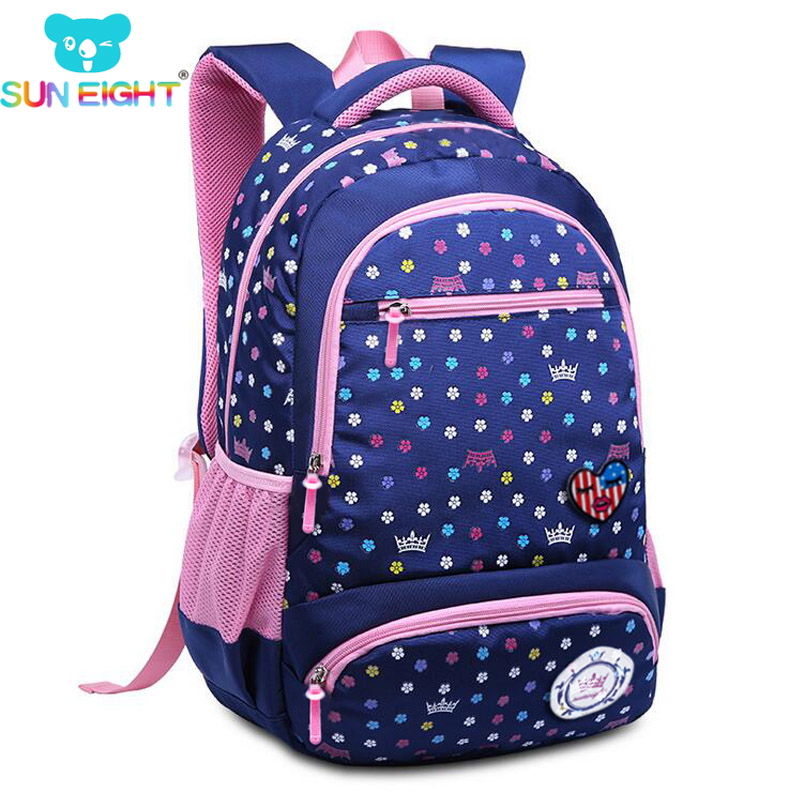 SUN EIGHT 2018 New Daisy Printing Girl School Bag Kid Backpack Zipper Backpacks  School Bags For Teenagers Girls Big Capacity