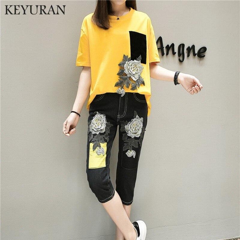 Plus Size Xl-5XL 2018 New Summer 2 Piece Sets Women Jeans Suit Casual Loose Embroidery Flowers Tops Jeans Female Pants Suit 1896