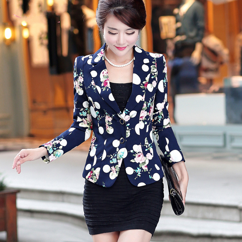 2017 Free Shipping Autumn Female Jacket New Suit Slim Mother Coat Design Women Work Wear Clothes Casual Candy Color White Blue