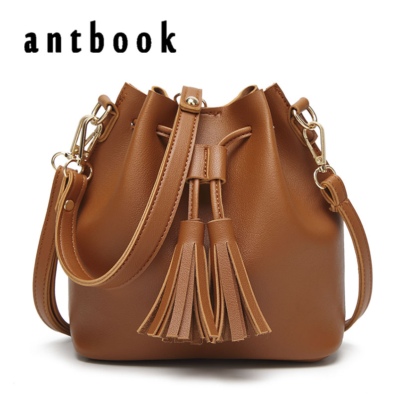 цена ANTBOOK New Tassel Solid Women Pu Leather Handbags High Quality Bucket Bags Ladies Shoulder Bags Women Crossbody Messenger Bags