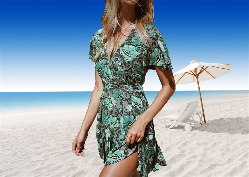 7174c5967b Beach Dress Tunic Green Printing Elegant Tunics For Women Deep V-Neck Beach  Cover Up Summer Women Floral Sexy Bathing Suit