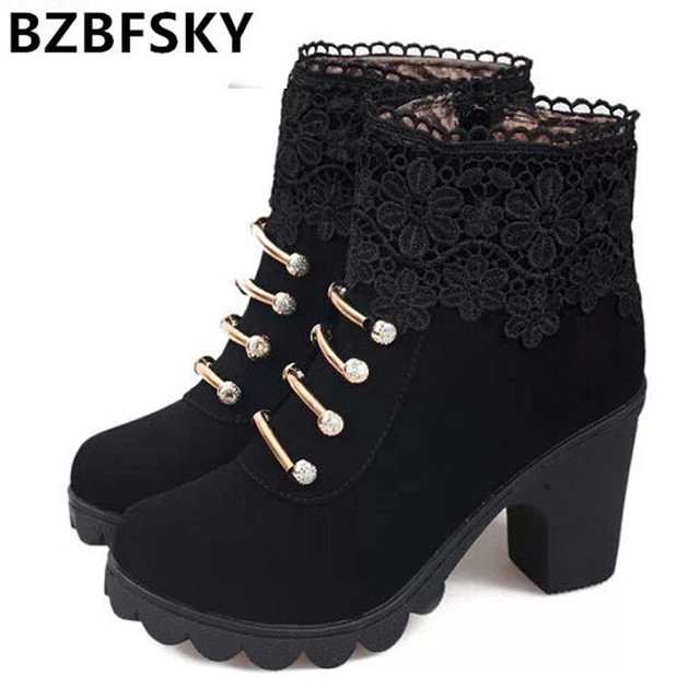 2017 Women Boots Fashion PU Leather Round Toe Ankle Boots Sexy Lace Ladies High Heels Platform Shoes Woman
