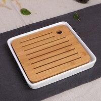 Ceramics Bamboo Tea Tray Drainage Water Storage Kung Fu Tea Set Room Board Table Chinese Tea