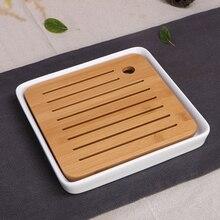 Keramik Bambus tee-tablett Entwässerung wasserspeicher Kung Fu Tee set zimmer Bord tabelle Chinesische tee Zimmer zeremonie werkzeuge Tee Set